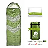 The BAP Goods Sleeping Bag Outdoor Camping Extra Wide – for Men Women & Adults –210T Ripstop Compact Envelope Sleep Bag W/Pillow & Strong Zipper –500 GSM –Ideal for All Year Long– Olive Green