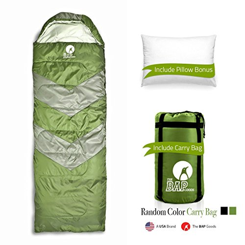 The BAP Goods Sleeping Bag Outdoor Camping Extra Wide - for Men Women & Adults –210T Ripstop Compact Envelope Sleep Bag W/Pillow & Strong Zipper –500 GSM –Ideal for All Year Long– Olive Green