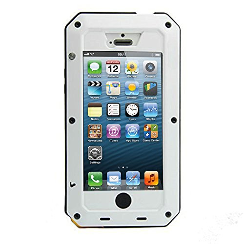 iPhone 5C Case, Tomplus Gorilla Glass Luxury Aluminum Alloy Protective Metal Extreme Shockproof Military Bumper Heavy Duty Cover Shell Case Skin Protector for Apple iPhone 5C (white)