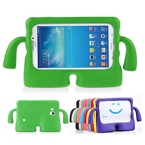 Price comparison product image Samsung Tab 3 Cases for Kids by Lioeo 3D Cute Cartoon Carrying Child Case for Samsung Galaxy Tablet 3 /3 Lite 7.0 In NOT Fit For 8 Inch (Green)