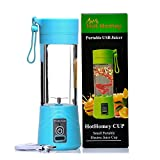 Hot Homey Portable Rechargeable USB Juicer Cup - Blender Bottle - 380ml Electric Personal Blender - Fruit Mixer - Protein Shaker - Protein Mixer with USB Charger Cable - Perfect for Home - Office - Travel and Outdoors (Blue)