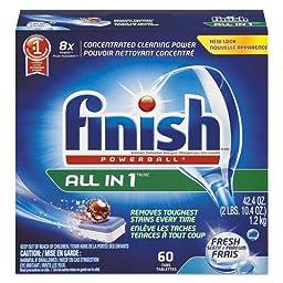 Finish Powerball All in 1 Dishwasher Tabs, Fresh Scent, 60/Box (1 Box) - BMC- RAC81158BX