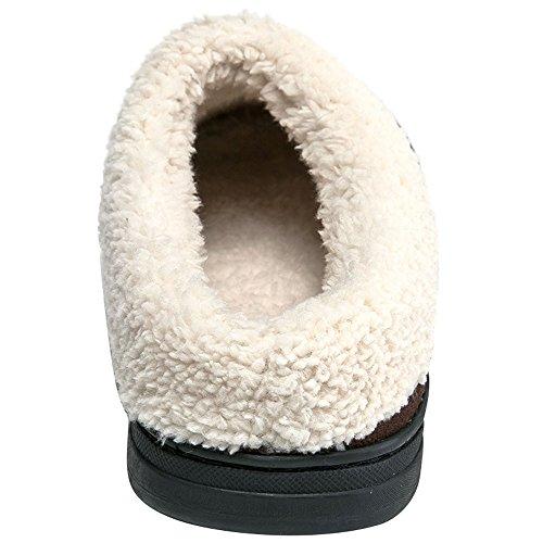 Jackshibo Mens Laine Polaire En Peluche Doublé Glisser Sur Les Chaussures Dintérieur Mémoire Mousse Confortables Pantoufles Maison De Sabot Brun