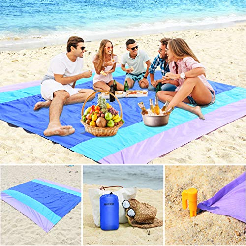 Sandfree Beach Blanket, Compact Outdoor Beach Mat and Picnic Blanket Made from Strong 210TRip-stopNylon, Best Outdoor Blanket 10' x 9' Extra Large for Travel, Sport, Festival Event- Machine Washable