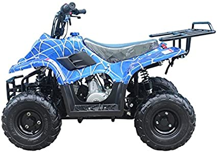 Amazon Com Brand New 110cc Atv Fully Automatic Gas 4 Wheeler Atv For Kids Brand New Color Blue Spider Toys Games