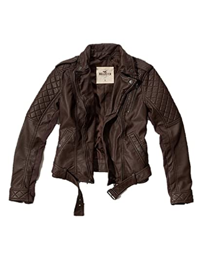 Hollister New Abercrombie Faux Leather Biker Moto Jacket Large L Brown Women  Authentic