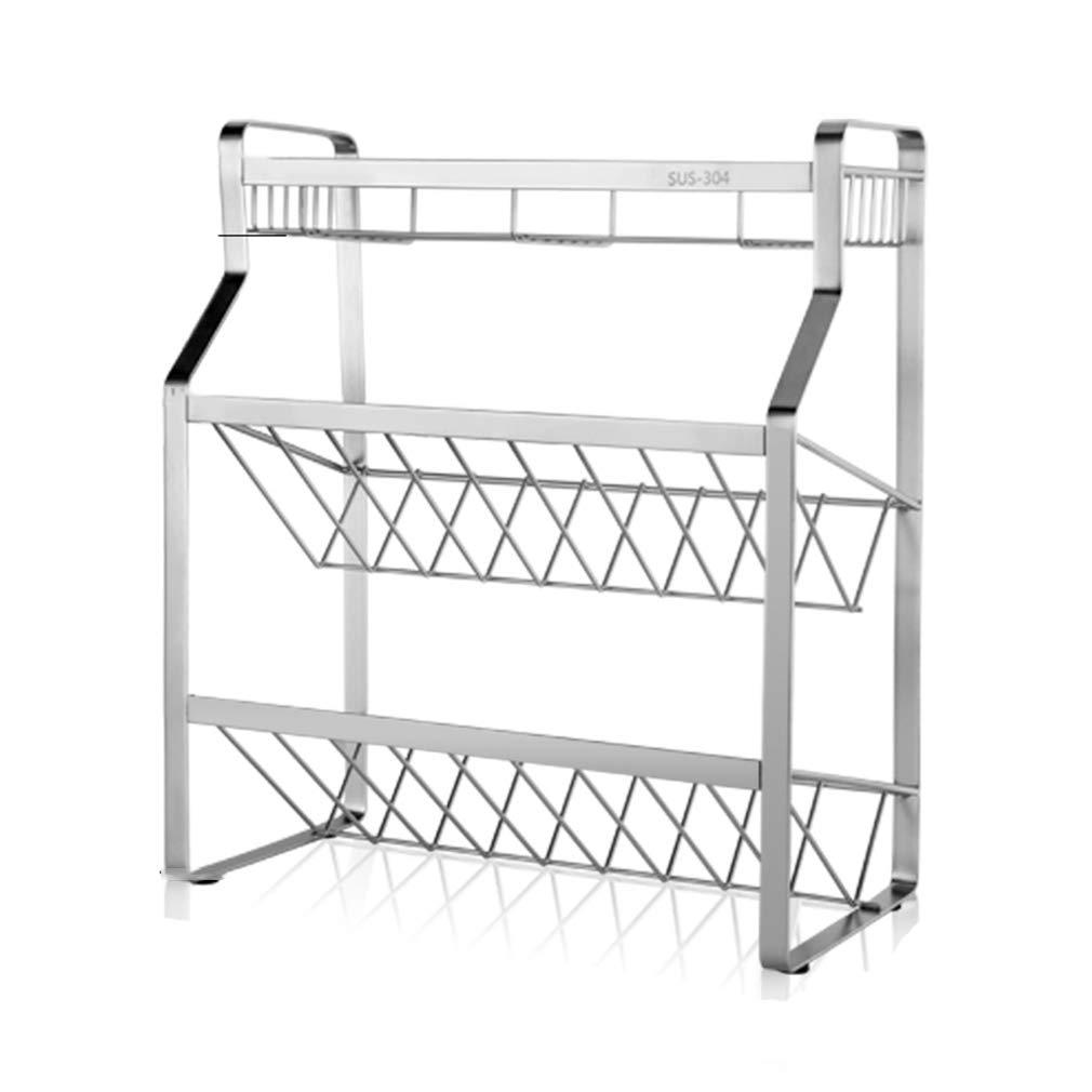PM-Shelf 35/45 18 40cm3 Layer Stainless Steel Kitchen Multi-Function Storage Rack Storage Rack Kitchen Countertop Storage Counter Cabinet (Size : 451840cm)