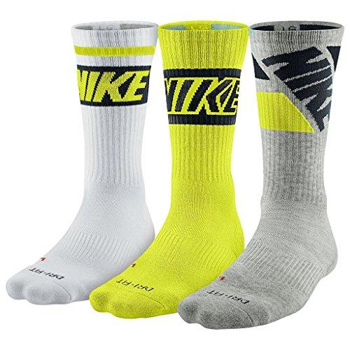 Nike Dri-fit Cushioned Crew Sock (Large, Cyber, Gray,