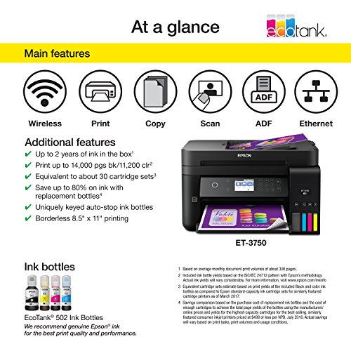Epson Workforce ET-3750 EcoTank Wireless Color All-in-One Supertank Printer with Scanner, Copier and Ethernet (Renewed) by Epson (Image #2)