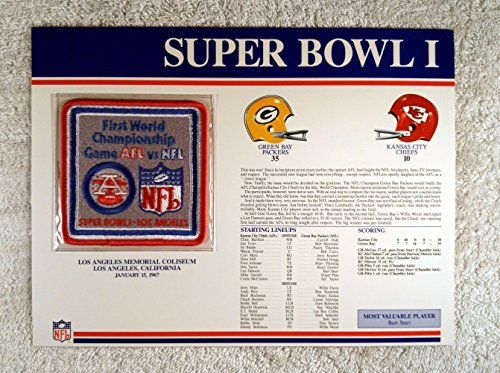 - Super Bowl I (1967) - Official NFL Super Bowl Patch with complete Statistics Card - Green Bay Packers vs Kansas City Chiefs - Bart Starr MVP