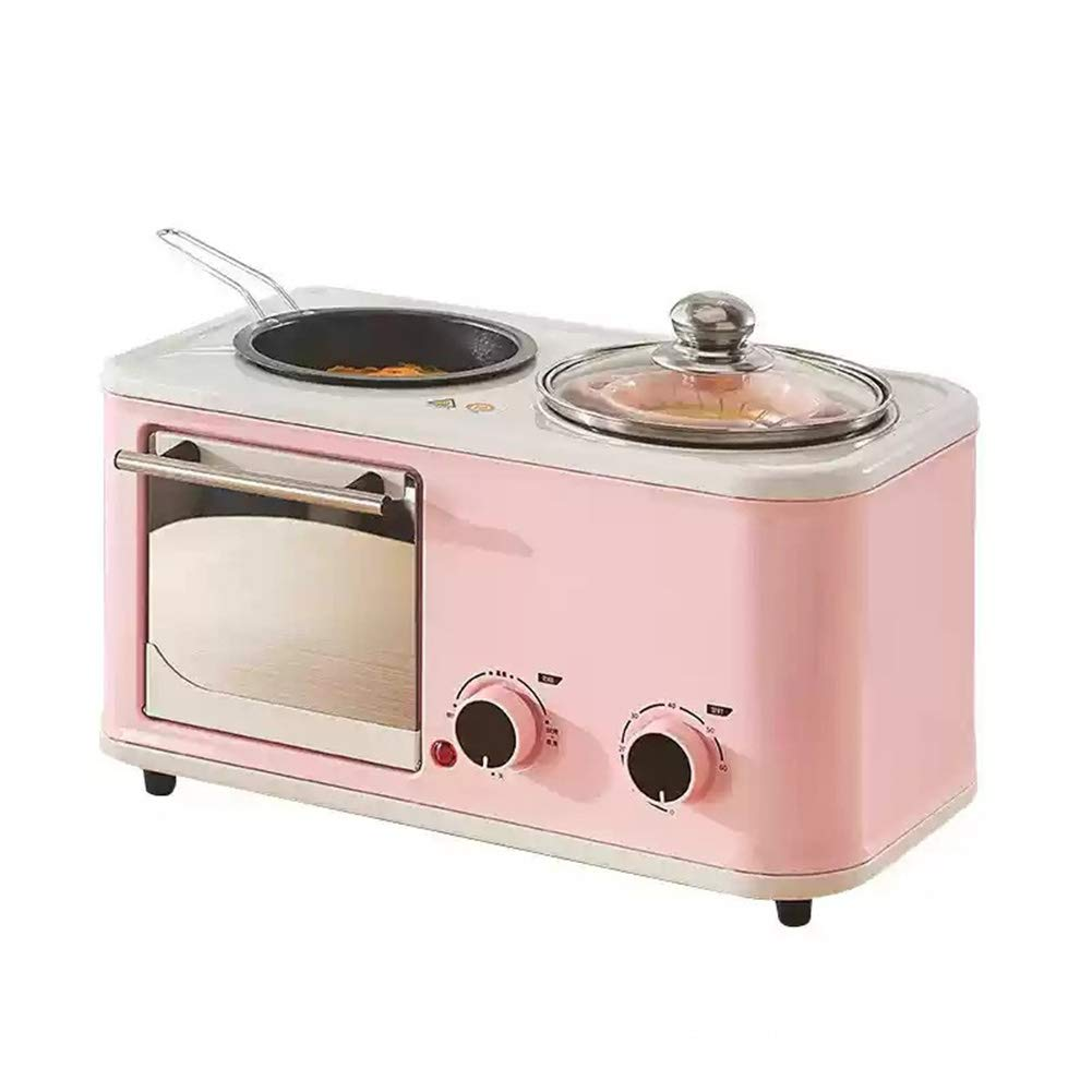 JINJN Pink 3-in-1 Family Size Breakfast Station Multifunction Fried Roasting All-Around Machine Toaster Ovens Non-Stick Pan and Stock Pot