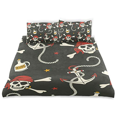 Vipsk Duvet Cover Set Pirates of The Skull Black Brown Pattern 3 Piece Bed Set 100% Cotton with Zipper Closure Organic Modern Comforter Set Full/Queen