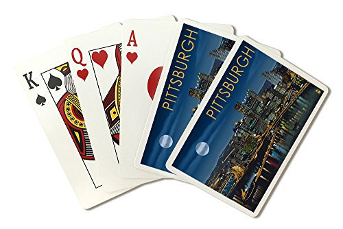 Pittsburgh, Pennsylvania - Skyline at Night (Playing Card Deck - 52 Card Poker Size with Jokers)