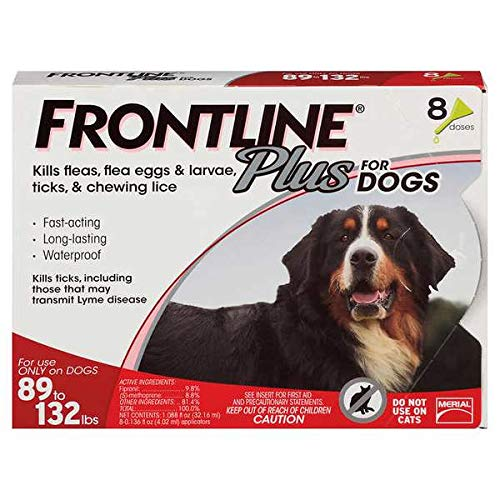 Frontline Plus Flea and Tick Treatment for Dogs 8 Month Supply (89-132 LB)