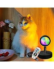 Homlok Led-zonsonderganglamp, 16 lichtkleuren, RGB, regenboog, zonsonderganglamp, 180 graden draaibaar, USB, zonsondergang, projectielamp, vloer, sfeerlamp, romantische visuele decoratie voor slaapkamer, woonkamer