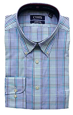 Chaps Men's Performance Classic Fit Plaid Dress Shirt, Soft Blue