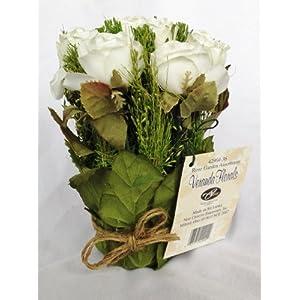 White Juliet Rose Graduation Party or Wedding Reception Artificial Flower Table Centerpiece (Set of 2) 3