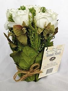 White Juliet Rose Graduation Party Or Wedding Reception Artificial Flower  Table Centerpiece (Set Of 2)