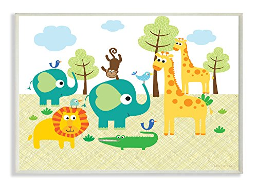Jungle Art Collection - The Kids Room by Stupell Jungle Animal Rectangle Wall Plaque, 11 x 0.5 x 15, Proudly Made in USA