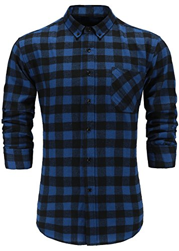 GoldCut Mens 100% Flannel Cotton Slim Fit Long Sleeve Button Down Plaid Dress Shirts