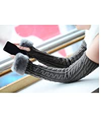 Womens Girls Winter Wool Knit Gloves Warm Faux Fur Fingerless Gloves Mitten Xmas Present
