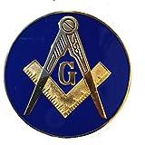 Masonic Master Mason Auto Car Tag Emblem Reflex Blue Made of High Quality Aluminum