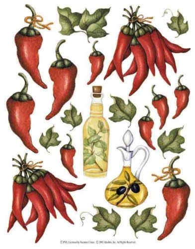 IdeaStix Chili Peppers 2-Sheet Accents Peel and Stick Décor