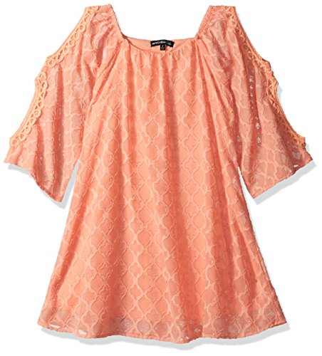 My Michelle Girls' Big Burn Out Long Sleeve Cold Shoulder Dress, Light Coral 14 (My Clothes Michelle)