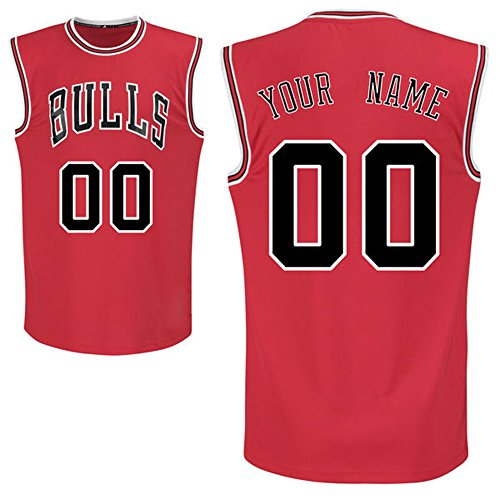 Men's Chicago Bulls Red Custom Replica Basketball Jersey Your Name/Number Size XL