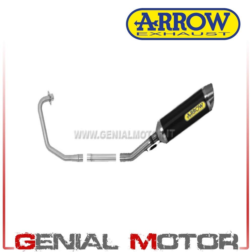 51004MI+51005MI+51504AON Komplett Auspuff Arrow Street Thunder Alum Schwarz Cbf 125 2009  2014