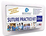All-in-One Suture Practice Kit for Medical Students, Vets & Nurses | 23-Piece Suturing Training Set with 100% Stainless Steel Tools | 12 Mixed Sutures | Realistic 4-Layered Mesh Pad & Plastic Box