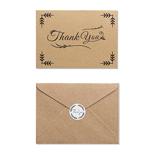 MAGJUCHE Rustic Thank You Folded Note Cards with Kraft Envelopes and Stickers, 32 Cards (Thank You Printable Cards Birthday)