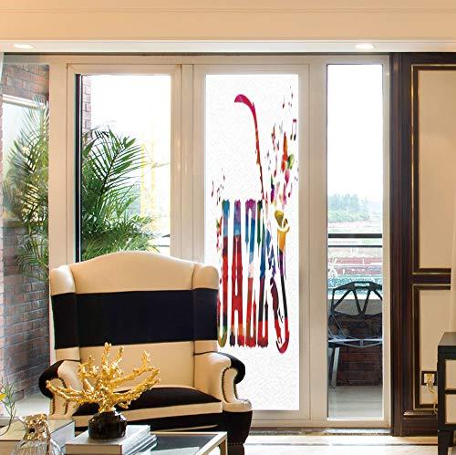 YOLIYANA Non Adhesive Window Film,Music Decor,for Window Moving Glass Door,Colorful Jazz with Saxophone Choir Summer Entertainment Flourish,24''x78''