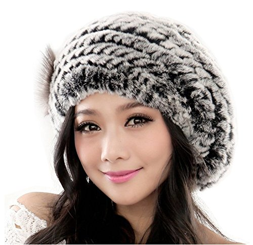 Yr Lover Winter Women's Rex Rabbit Fur Beret Hats Caps With Fur Flower (Rabbit Rex Hat)