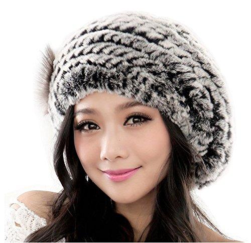 Yr Lover Winter Women's Rex Rabbit Fur Beret Hats Caps With Fur Flower (Rex Hat Rabbit)