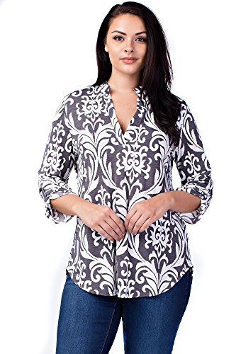 Allora Betsy Red Couture Women's And Plus Size Soft Knit Notch Neck Tunic Top (Beaded Linen Tunic)
