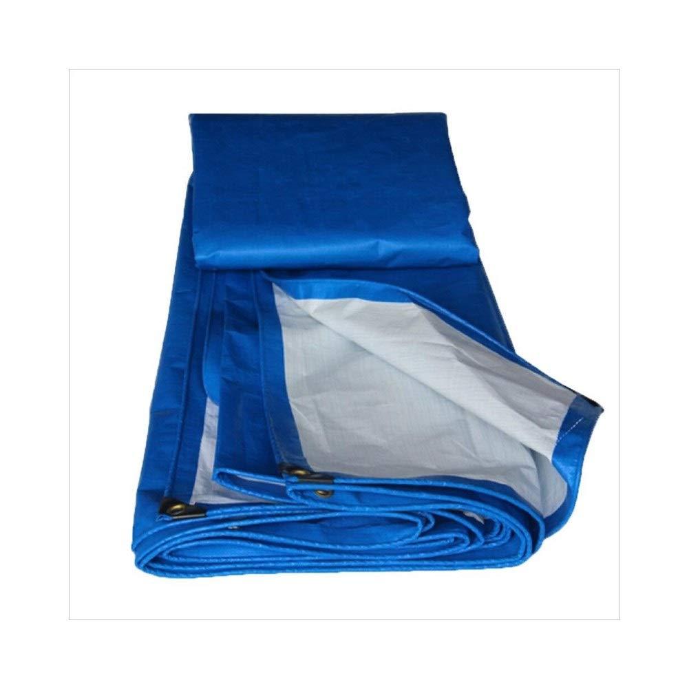 A 6 x 8m CAOYU BÂche, Toile de Store Anti-Poussière de Prougeection Solaire de Camion, Polyéthylène Bleu + Blanc