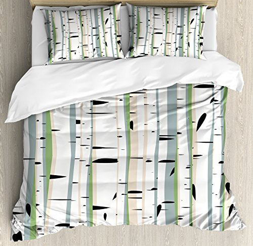 Duvet Birch Cover - Ambesonne Forest Duvet Cover Set Queen Size, Dense Tree Formation Birch Trunks Abstract Grove Botanical Countryside Backwoods, Decorative 3 Piece Bedding Set with 2 Pillow Shams, Multicolor