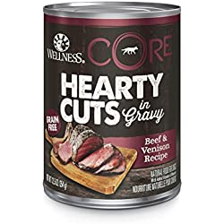 Wellness CORE Hearty Cuts Natural Wet Grain Free Canned Dog Food, Beef & Venison, 12.5-Ounce Can (Pack of 12)