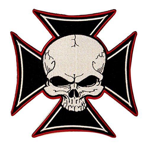 Skull Iron Maltese Cross Embroidered Iron on Motorcycle Biker Patch Large 5 7/8