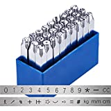 BENECREAT 27PCS Numbers and Symbols Metal Stamp Set, 1/4' 6mm, Carbon Steel, 0-8, Math Characters, Jewelry Stamping Punch Press Tool for Imprinting Marking on Metal Wood Leather