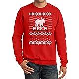 TeeStars - Bear + Deer = BEER Ugly Christmas Sweater Funny Sweatshirt Large Red