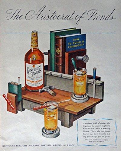 Kentucky Tavern Whiskey, 40's Print ad. Full Page Color Illustration (work beanch Bar) Original Vintage 1947 Life Magazine Print -