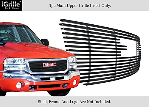 Gmc Classic Billet Grille - APS Compatible with 03-06 GMC Sierra 1500 2500HD 3500 Black Stainless Steel Billet Grille G65771J