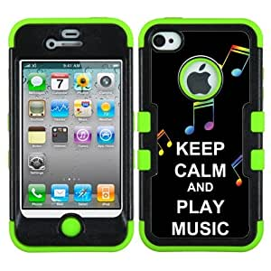 One Tough Shield ? 3-Layer Design Hybrid phone Case (Black/Green) for Apple iPhone 4 4s - (Keep Calm / Play Music)
