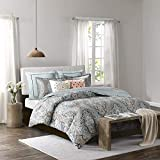 Echo Design Sterling Duvet Cover King Size - Teal Green , Damask Duvet Cover Set - 3 Piece - Cotton Light Weight Bed Comforter Covers