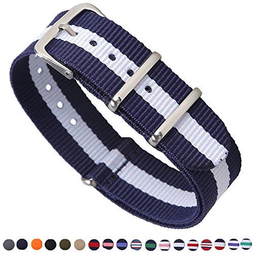 Premium Canvas Fabric Watch Bands Ballistic Nylon Straps Width,Navy/Ivory,20mm ()