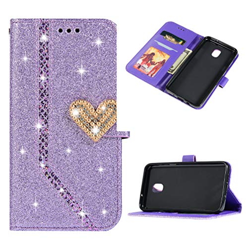 Samsung Galaxy J3 2018, J3 V 3rd Gen, Express Prime 3, J3 Orbit,J3 Star, J3 Achieve, Amp Prime 3 Case, Bling Glitter Diamond Rhinestone Flip Case Magnetic Closure Bright Crystal Cover Purple
