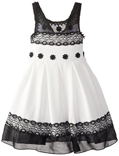 Bonnie Jean Little Girls' Knit To Lace Trimmed Dress, Black/White, 6