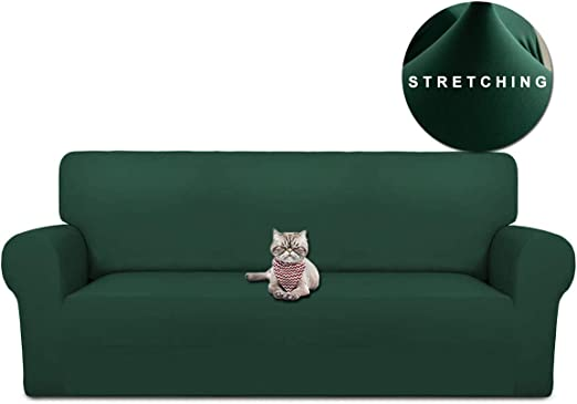 WOMACO Stretch Loveseat Slipcover 2 Seater Couch Cover 2 Cushion Sofa  Slipcovers for Love Seat Furniture Protector (Dark Green, Loveseat)